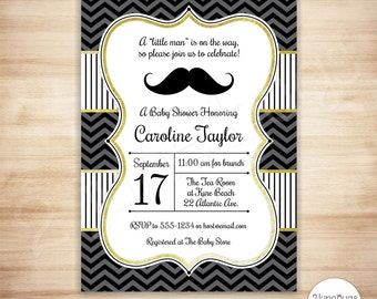 Mustache Baby Shower Invitation - Mustache Little Man Baby Boy Shower - Black Gold Chevron - EDiTABLE PDF - INSTANT DOWNLOAD