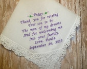 MOTHER IN LAW Wedding Handkerchief Embroidered Custom Keepsake Hanky Hankie Gift