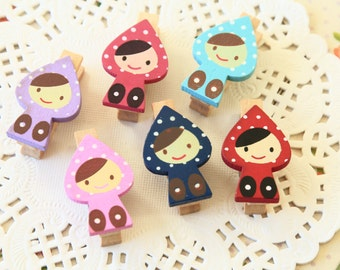Red Riding Hood Girl Wood Pegs Photo Clips