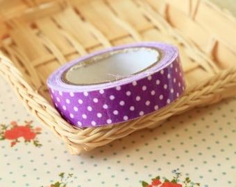 Purple Polka Dots adhesive deco fabric tape