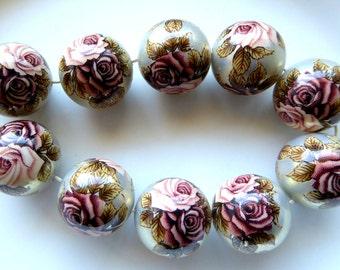 Reserved Destash Japanese Tensha Beads Roses on beige (acrylic beads)