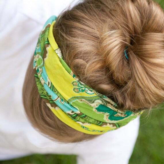 Extra Wide Headband Turquoise Lime Bohemian Head Wrap Hair Loss Headband Boho Alopecia Headscarf (#2208) S M L X