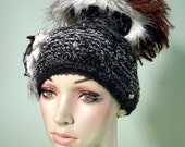 Sale - BURLESQUE BEANIE/HAT - Wearable Fiber Art, Retro Style, Open Crown, Freeform Crochet Brooch, In-line With Top Fashion Houses Trends