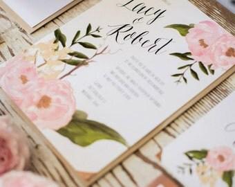 "Floral Boho Wedding Invitation ""The Lacy""-- (20 Invites, RSVP Cards, Envelopes)"