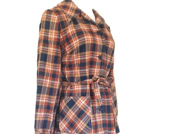 Vintage Pendleton, Wool Plaid Shirt, Jacket, Belted L XL  NEw
