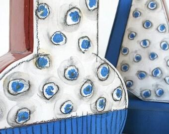 Modern ceramic vase. Modernist vase, contemporary vase, terracotta vase, hand made vase, hand painted vase, polka dot vase, blue, white