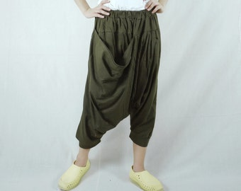 Funky Harem Boho Drop Crotch Dark Army Green Cotton Jersey Pants With Front Pocket And Elastic Waist