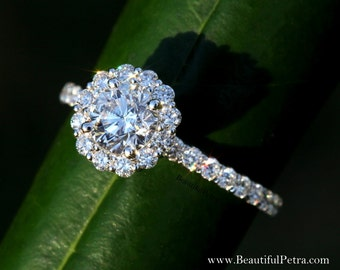 Diamond Engagement Ring  -14K white gold - 1.60 carat - Round - Flower Halo - Pave - Antique Style - Bph033