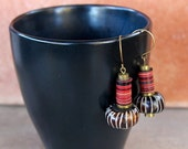 Holiday Sale African Tribal Earrings Batik Bone with Red and Black Phono Disk Beads Earthy Colorful Ethnic Jewelry Earrings