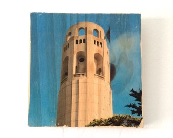 """Birdseye View: Coit Tower - 7""""x7"""" Distressed Photo Transfer on Wood"""