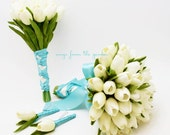 Real Touch Tulips Bridal & Bridesmaid Bouquet White Aqua Blue Ribbon Tulip Wedding Flower Package - Customize for your Colors