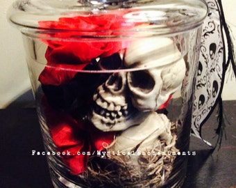 Day of The Dead Glass Jar with Skulls