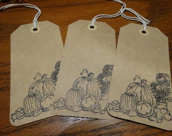 SET of 3 X Large Autum Fall Harvest Hang Tags