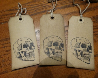 SET of 3 Large Primitive skull Hang Tags