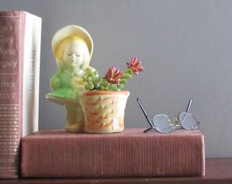 Vintage Art Pottery Planter - little girl - Shawnee