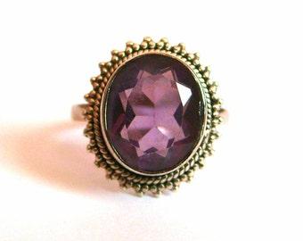 Vintage Sterling Silver Amethyst Ring Size 7.25
