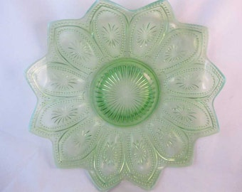 EAPG Northwood Glass Co Spokes And Wheels Green Opalescent Dish 1906
