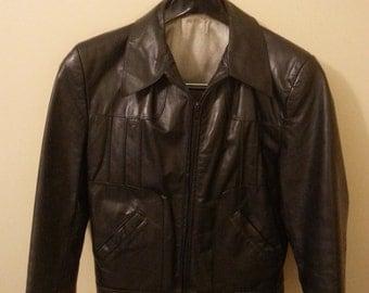 Vintage Black Leather Jacket By Grais sz 36