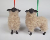 Handcrafted Porcelain and Wool Suffolk Lamb Ornament
