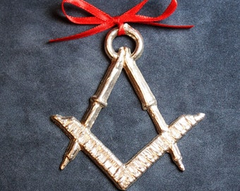 Pewter Compass & Square Ornament