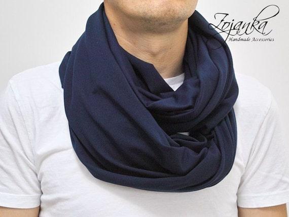 MEN's Infinity Scarf Shawl Loop NAVY BLUE mens scarves infinity scarf, men cotton scarf,men accessories
