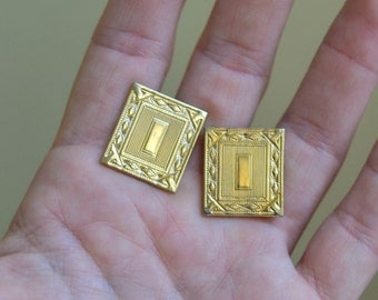 Vintage Gold Tone Cuff Links, Mad Men Style Cufflinks, Textured Rectangle Cuff links, Initial I