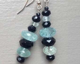 Aquamarine, Onyx & Spinel Gemstone Earrings