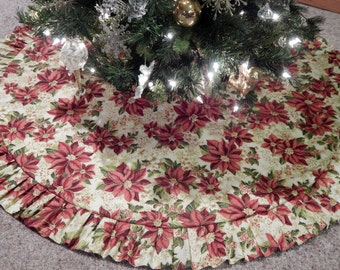 "50"" Ruffled Poinsettia Reversible Christmas Holiday Tree Skirt IN STOCK"