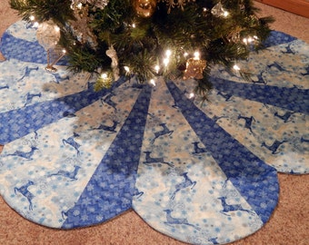EXTRA Large Nordic Blue White Deer and Metallic Star Scallop Design Christmas Tree Skirt IN STOCK