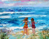 Original oil painting Beach Memories abstract palette knife impressionism on canvas fine art by Karen Tarlton