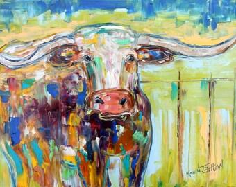 Longhorn painting original oil on canvas palette knife 12x16 impressionism fine art by Karen Tarlton