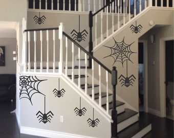 Assorted Spiders and Webs, Halloween Decals, Vinyl Wall Lettering, Vinyl Wall Decals, Vinyl Letters, Vinyl Lettering, Wall Quotes