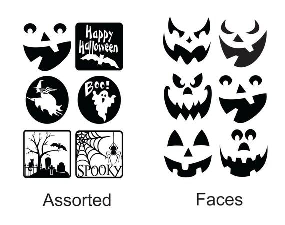 Six Assorted Halloween Decals For Luminaries Glass Block - Halloween vinyl decals for glass blocks