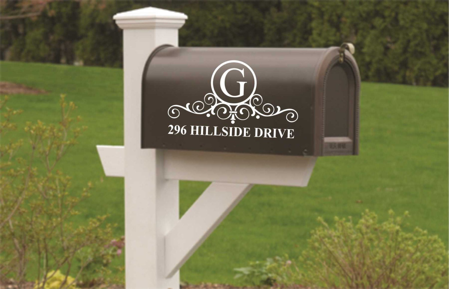 Mail Box Decal Door Sign Scroll Monogram Mailbox Sign