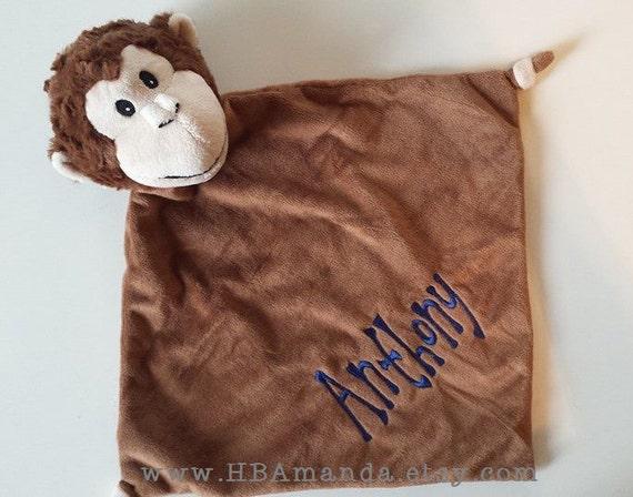 Brown Monkey Minky Blanket - Brown Monogrammed Monkey Blankie - Monogram Baby Gift - Security Blanket - Cubbie Blanket