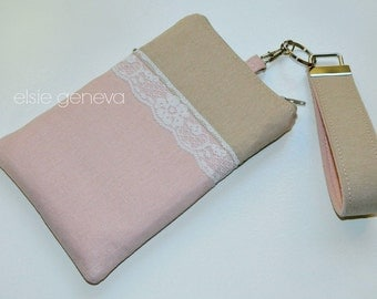 Vintage Japanese Linen and Lace Rose Quartz Phone Case with Wristlet Zipper Closure  iPhone 5 6 Plus Samsung Note