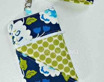 Phone Case Wristlet Ready to Ship Navy Blue Aqua and Olive Sage Green Floral & Dots  Zipper Closure  iPhone 6 Plus Note Navy