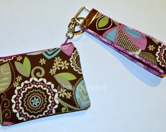 Ear Buds Blue Tooth Coin Purse with Wristlet Chelsea Brown Aqua Purple - Ready to Ship