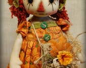 Primitive Folk Art Raggedy Autumn Ann Pumpkin big doll Fall Autumn Halloween decor ooak cute