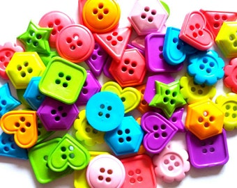 50 pcs fancy mix shape button 4 hole square, flower, triangle, hexagon, heart button bright color