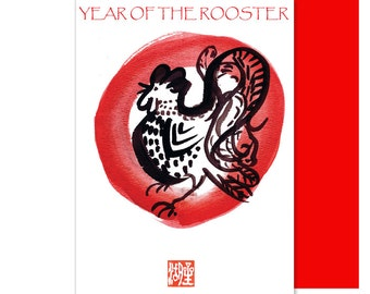 Rooster Card, Year of the Rooster, Chinese new year cards, losar, w/ red envelope, of original sumi ink painting, new baby, holiday greeting