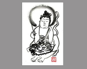 Buddha Manjusri, Monju, Buddha of Wisdom, Zen Brush Art Painting Original, Buddhist art, altar art, zen decor, tao, japanese art meditation