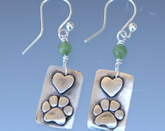 Dog Paw and Heart Earrings - Dog Paw - Dog Paw Jewelry - Paw Jewelry - Dog Jewelry - Animal Jewelry - Dog Lovers Jewelry - Hearts