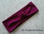 Twist Turban in Plum Turban WRAPSody Workout Wear Yoga Wrap  Stretch Headwrap Runnng Headwrap Purple Headcover