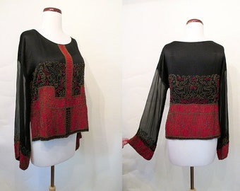 Divine 1920's Art Deco Silk Satin Beaded Blouse Great Gatsby Roaring 20's Flapper Downton Abby Old Hollywood Glamour Pinup Size-Medium