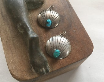 Vintage Navajo Phillip White Sterling Turquoise Earrings Atkinson Trading Company