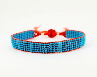Woven Beaded Bracelet in Turquoise with Red  Silk and Adjustable Slider at the Back