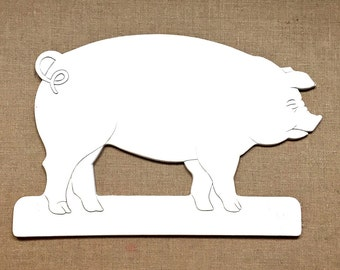 Pig Wall Hanging, Vintage White Pig Wall Decor, Pressed Painted Wood PIG Wall Hanging, Pig Kitchen Decor, Painted Wall Pig, White Pig Art
