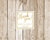 Gold Foil Printed Custom Printed Favor Tags 25 count-Gold Foil Favor Tags