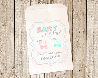 Custom Printed Gendar Reveal Candy Buffet Bags/Favor bags/Candy bags/Candy Bar bags  25 count